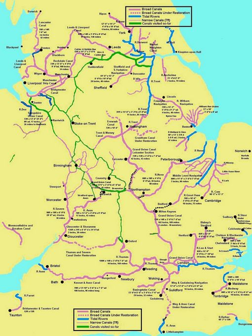 Map Of Uk Rivers And Canals.Canal Map